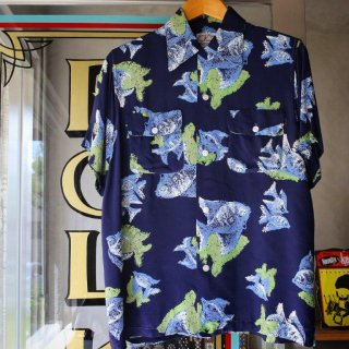 Vintage 1950s<BR>Hawaiian shirt <BR>angel fish