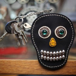 skull leather key & card case<BR>black leather