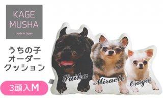 ペットの写真入りクッション☆【KAGEMUSHA】オーダーメイドクッション(1クッション3頭:Mサイズ長方約42cm)
