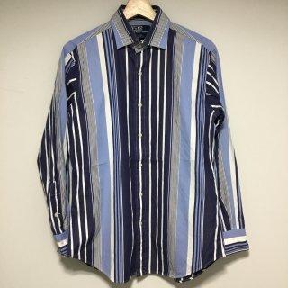 ラルフローレン ストライプシャツ ワイドカラー  白紺水色