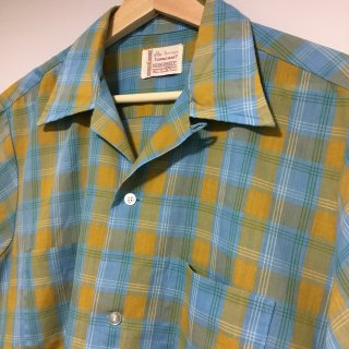 60s Penny's TOWNCRAFT  S/S オープンカラーシャツ チェック カラシ水色