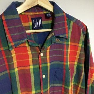 90s OLD GAP チェックオープンカラーシャツ
