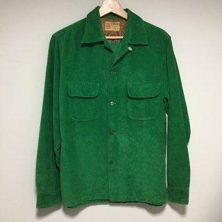 50s TOWNCRAFT  オープンカラーシャツ グリーンコーデュロイ
