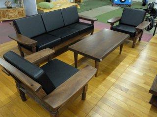 クス 楠 一枚板 120センターテーブル・1Pソファ×2・3Pソファ 4点セット  国産高級伝統工芸 ロクロ家具【開梱・設置・組み立て無料】