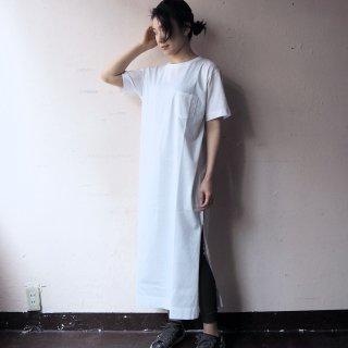 GOODWEAR グッドウェア ポケット付きクルーネック スリットワンピース/WHITE
