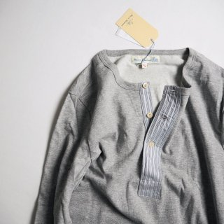 Merz b. Schwanen メルツベーシュヴァーネン 長袖ヘンリーネックTシャツ w/DEADSTOCK FABRIC #226DS / GREY MEL.<img class='new_mark_img2' src='https://img.shop-pro.jp/img/new/icons13.gif' style='border:none;display:inline;margin:0px;padding:0px;width:auto;' />