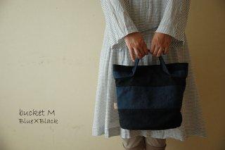 倉敷帆布*バケット/Mサイズ ボーダー<ブルー×ブラック>