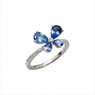 K18<br>ホワイトゴールドタンザナイト/ダイヤモンドリング