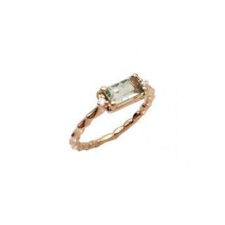 K18<br>ピンクゴールドグリーンクォーツ/ダイヤモンドリング