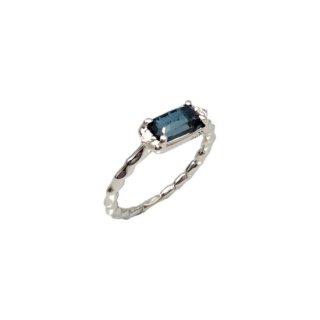 K18<br>ホワイトゴールドブルートパーズ/ダイヤモンドリング