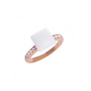 K18<br>ピンクゴールドホワイトカルセドニー/ダイヤモンドリング