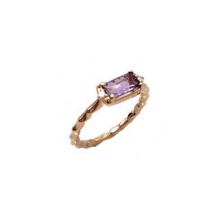 K18<br>ピンクゴールドアメジスト/ダイヤモンド リング