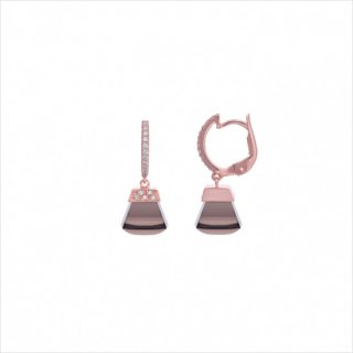 K18<br>ピンクゴールドスモーキークォーツ/ダイヤモンドピアス