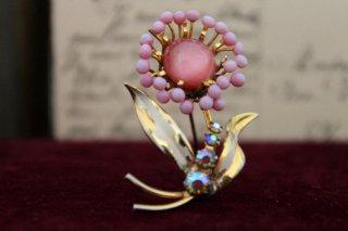 カボションお花のブローチ(ピンク)