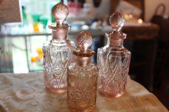 ピンク パフュームボトル ガラス瓶 3本set