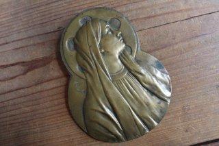 真鍮製 聖母マリア 壁掛け 作家サイン キリスト教