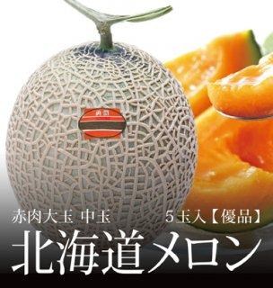 北海道メロン 秀品 赤肉大玉 中玉サイズ 5玉 約8.0kg