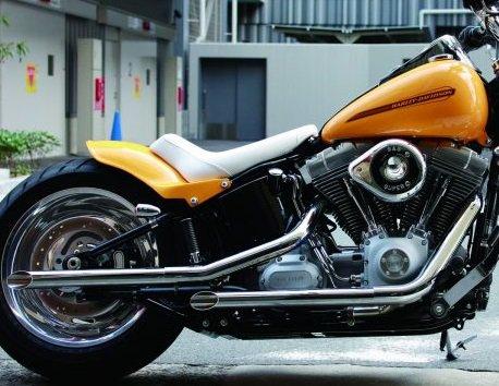 ハーレー|ソフテイル用マフラー ブラスドラッグ シルバー