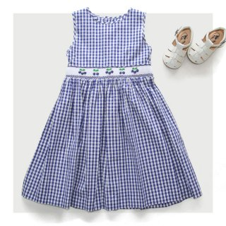Malvi & Co. - Gingham check cherry dress (Blue)