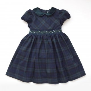 <img class='new_mark_img1' src='https://img.shop-pro.jp/img/new/icons14.gif' style='border:none;display:inline;margin:0px;padding:0px;width:auto;' />Malvi & Co. - Tartan smocked dress (Navy/Green)