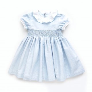 Camellia - Dots smocking dress(light blue)