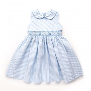 <img class='new_mark_img1' src='https://img.shop-pro.jp/img/new/icons14.gif' style='border:none;display:inline;margin:0px;padding:0px;width:auto;' />Malvi & Co. - Gingham smocked dress (Light blue)