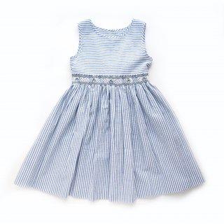 <img class='new_mark_img1' src='https://img.shop-pro.jp/img/new/icons14.gif' style='border:none;display:inline;margin:0px;padding:0px;width:auto;' />Malvi & Co. - Stripy smocked girl sleeveless dress (Red/Navy/Turquoise)