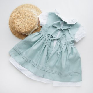 Camellia boutique - Apron and plumetti puff sleeve dress (Dusty pink / Mint green)
