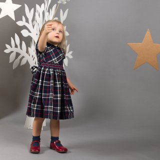 Malvi&Co. - Tartan smocked dress - Puff sleeve (Navy)