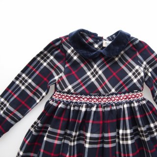 <img class='new_mark_img1' src='https://img.shop-pro.jp/img/new/icons14.gif' style='border:none;display:inline;margin:0px;padding:0px;width:auto;' />Malvi&Co. - Tartan smocked dress - Long sleeve (Navy)