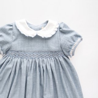 Malvi&Co. - Flannel smocked dress - Puff sleeve (Pale blue)