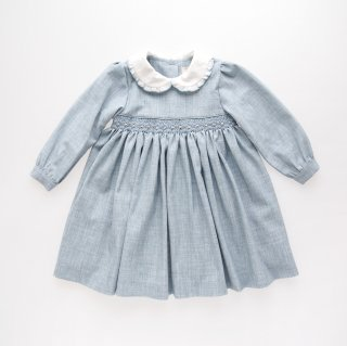 Malvi&Co. - Flannel smocked dress - Long sleeve (Pale blue)