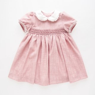 Malvi&Co. - Flannel smocked dress - Puff sleeve (Pink)