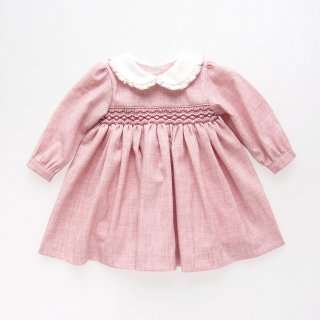 Malvi&Co. - Flannel smocked dress - Long sleeve (Pink)