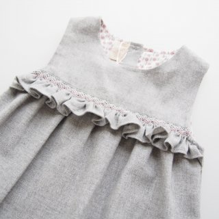 Malvi&Co. - Flannel smocked frill dress (Grey)