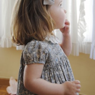 Aruca - Grey flower smocked dress
