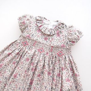 Aruca - Pink flower smocked dress