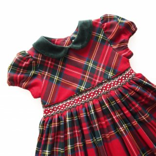 <img class='new_mark_img1' src='https://img.shop-pro.jp/img/new/icons14.gif' style='border:none;display:inline;margin:0px;padding:0px;width:auto;' />Malvi&Co. - Tartan smocked dress - Puff sleeve (Red)