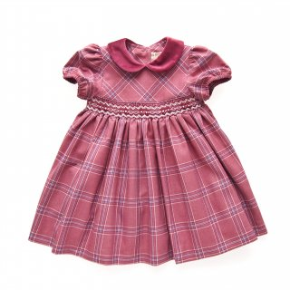 ISI Malvi&Co. - Tartan smocked dress - Puff sleeve (Raspberry)