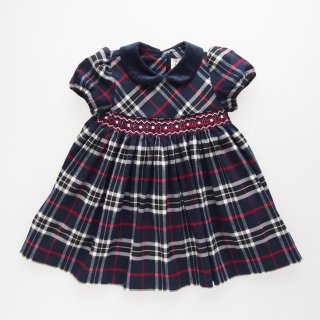 <img class='new_mark_img1' src='https://img.shop-pro.jp/img/new/icons14.gif' style='border:none;display:inline;margin:0px;padding:0px;width:auto;' />ISI Malvi&Co. - Tartan smocked dress - Puff sleeve (Navy)