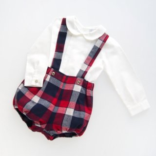 Laivicar / baby lai - Navy & Red Tartan bloomer & shirt set
