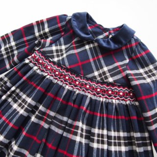 <img class='new_mark_img1' src='https://img.shop-pro.jp/img/new/icons14.gif' style='border:none;display:inline;margin:0px;padding:0px;width:auto;' />ISI Malvi&Co. - Tartan smocked dress - Long sleeve (Navy)