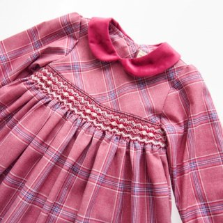 ISI Malvi&Co. - Tartan smocked dress - Long sleeve (Raspberry)