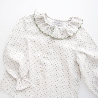 <img class='new_mark_img1' src='https://img.shop-pro.jp/img/new/icons23.gif' style='border:none;display:inline;margin:0px;padding:0px;width:auto;' />15%OFF - Amaia Kids -  Snowflake blouse (Olive dots)