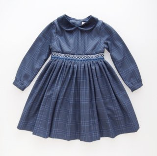 10%OFF - Malvi&Co. - Tartan smocked dress - Long sleeve (Navy blue)