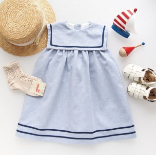 <img class='new_mark_img1' src='https://img.shop-pro.jp/img/new/icons14.gif' style='border:none;display:inline;margin:0px;padding:0px;width:auto;' />San Sakae Petit - Square collar sailor dress (Blue)