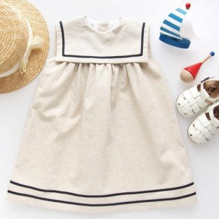 <img class='new_mark_img1' src='https://img.shop-pro.jp/img/new/icons14.gif' style='border:none;display:inline;margin:0px;padding:0px;width:auto;' />San Sakae Petit - Square collar sailor dress (Beige)