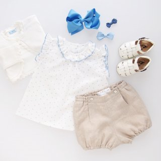 <img class='new_mark_img1' src='https://img.shop-pro.jp/img/new/icons14.gif' style='border:none;display:inline;margin:0px;padding:0px;width:auto;' />Amaia Kids - Trinite blouse (Blue dots)