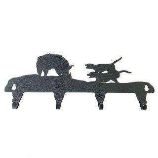 「猪と猟犬」鉄製キーフック