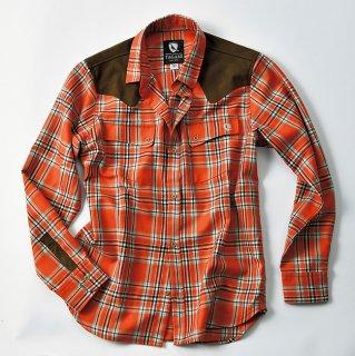 ※【C】TAGAMI/レザーパッチウールシャツ